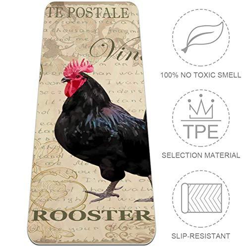 BestIdeas TPE yogamat ansichtkaart met haan deken voor yoga pilates vloer oefening ECO vriendelijk antislip ontwerp