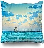jingqi Throw Pillow Cover Caribbean Blue Exotic Beach Paradise Viajes Turismo Vacaciones Naturaleza Cancún Parques Mujeres Diseño Ancho Fundas de Cojines Funda de Almohada