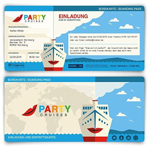 Einladungskarten zum Geburtstag (30 Stück) Kreuzfahrt Ticket Bordkarte
