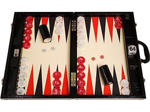 Tablero de Backgammon para torneos Wycliffe Brothers - Diseño de cocodrilo en negro con...
