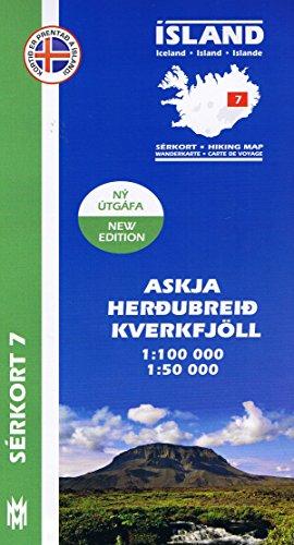 Serkort 7: Askja, Herdubreid, Kverkfjöll ( Ost-Island) Island Trekkingkarte 1:100.000 mit Detailwanderkarte 1:50.000