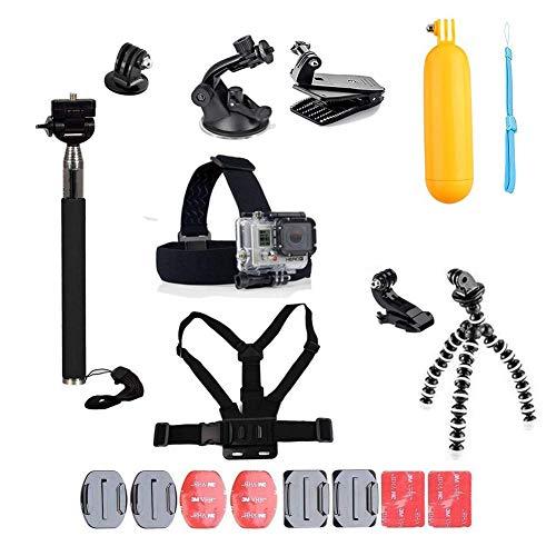 Linghuang - Kit de accesorios para cámara compatible con AKASO, para DJI Osmo Action Chest Strap Head Strap Mount Suction Cup Backpack Mount para GoPro Hero 7 6 5 4 3 Xiaomi Yi Action Camera