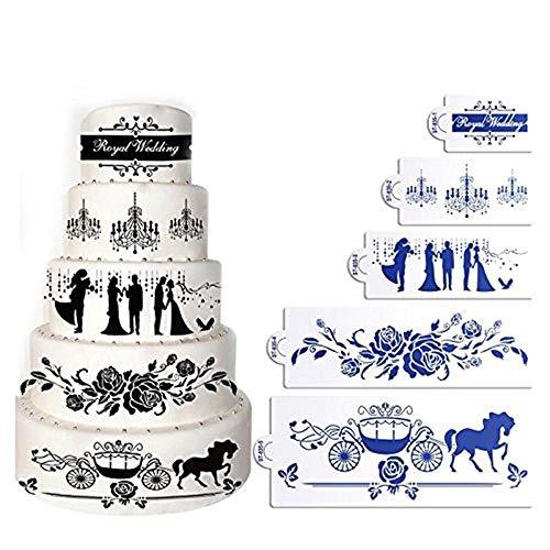 AK ART KITCHENWARE Valentijn & Bruiloft Taart Stencils Plastic Stencil Sjabloon voor het schilderen Airbrush Cake Decorating Tools 5 Stks