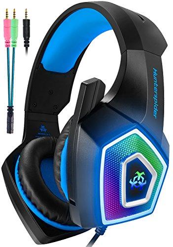 【虹色LED】V1ゲーミングヘッドセットps4ヘッドセットマイク付き有線軽量通気高音質ヘッドフォ...