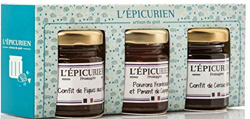 Französisches Confit zu Käse, 3 Sorten Geschenkset, je 50g, Käsekonfitüren aus Frankreich