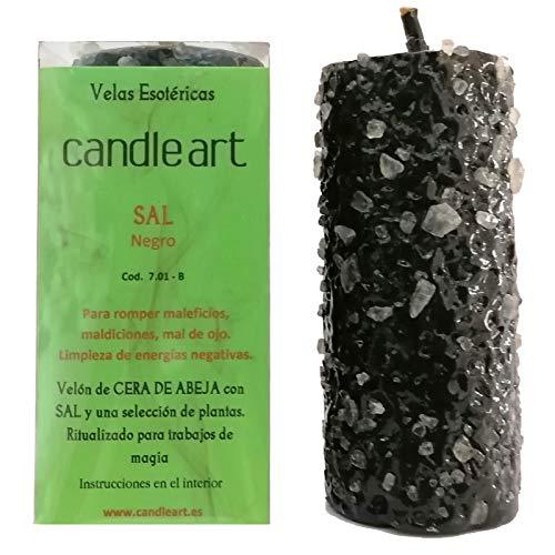 Vela Sal Limpieza Espiritual. Color Negro, Cera de Abeja con Plantas. Vela esotérica ritualizada para Trabajos de Magia.