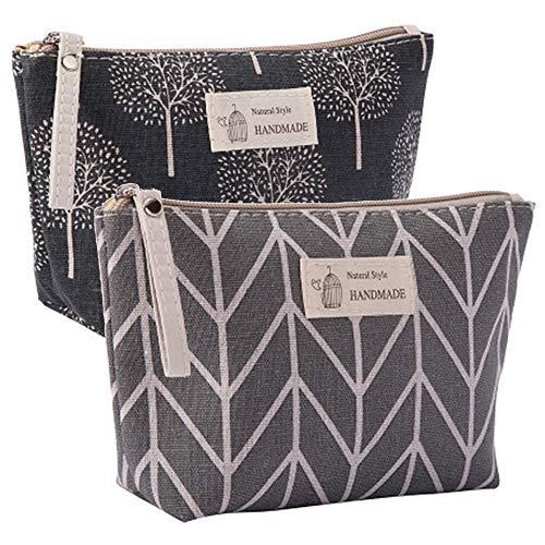 Kimoli 2 Pcs Womens and Girls Funny Canvas Makeup Bag Roomy Cosmetic Bag Pouch Purse Handbag with...
