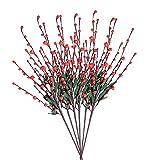 QZENENE 6 púas patrióticas de flores para decoración del hogar, tallos de flores artificiales de 32 pulgadas, ramas florales de bayas para Navidad, vacaciones, decoración del hogar, color rojo