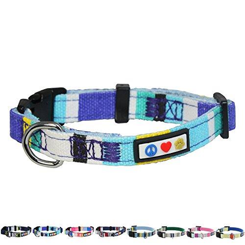Pawtitas Multicolor hondenhalsband Puppy halsband | Hondenhalsband Trainingshalsband - Extra kleine hondenhalsband Blauw/wit/turque/geel
