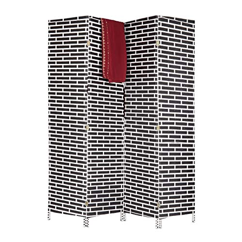Relaxdays Raumteiler 4-teilig, blickdichter Paravent in Ziegelstein Optik, Sichtschutz Trennwand HxB 180x170 cm, schwarz