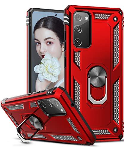 LeYi Hülle für Samsung Galaxy S20 FE 4G/5G,360 Grad Ring Halter Handy Hüllen Cover Bumper Schutzhülle für Hülle Samsung Galaxy S20 FE (Fan Edition) 4G/5G Handyhülle Rot