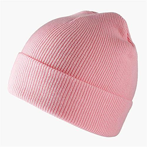 GUOQUN-SHOP Gorro Unisex Punto Sombreros Skullies Cap Men Beanie Hat Solid Color Caps Gorros Clásico (Color : Pink, Size : One Size)