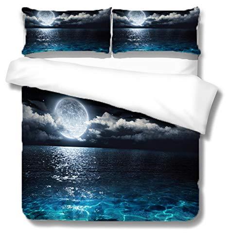 MENGBB 3D Ropa de Cama para niños Paisaje de mar de luna llena - 230x220cm Tener 4 Tamaño,...