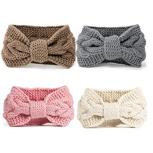 DRESHOW 4 Piezas Crochet Arco Turbante Knit Diadema Mujer Invierno Vendas Elasticas Anchas Tejida Lana Cintas Para El Pelo Banda de pelo más cálido