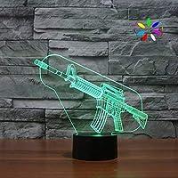 3Dモデルライト 3D照明LEDのおもちゃの銃ナイトライト、3D錯視スマートボーイズのクリスマス誕生日プレゼントホームデコレーション光によって用USB電源ケーブル、と7色のナイトライトテーブルランプ 子供用ギフトライト