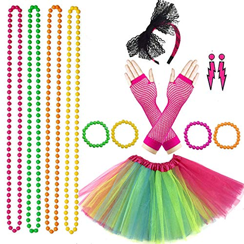 Lhasam 80s Fancy Dress Costume Accessories Women Girls, 80s Fancy Dress Party Costume Accessories...