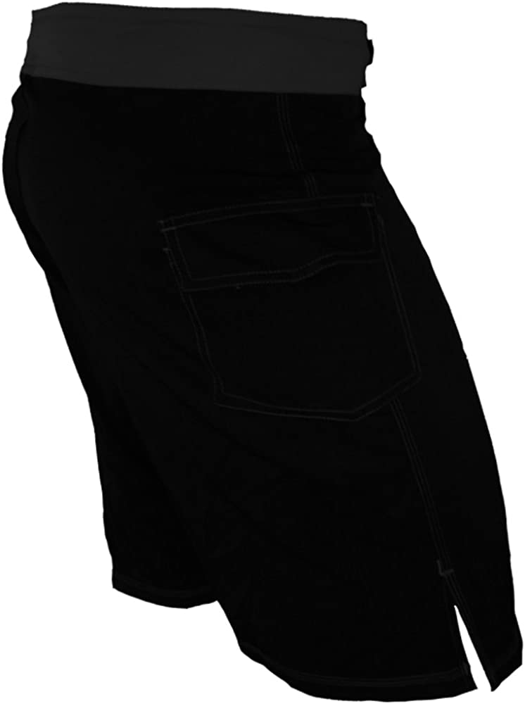 with Side Pocket /& Side Slit Epic MMA Gear Blank WOD Shorts Pull On