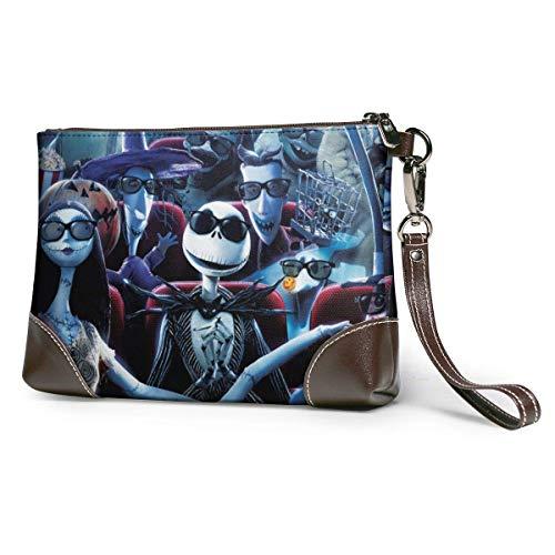EDFG Pesadilla antes de Navidad bolso de mano de cuero con cremallera cartera bolso de mano para mujer monederos