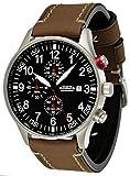Astroavia N57L12 - Orologio da polso da uomo, cronografo, al quarzo, con cinturino in pelle