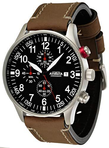 Astroavia Reloj de pulsera para hombre, cronógrafo, cuarzo, con correa de piel N57L12