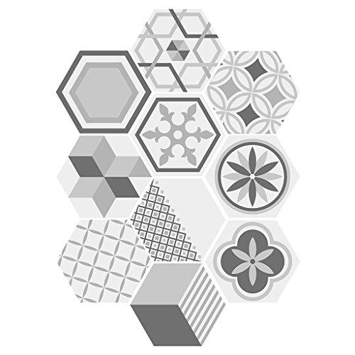 10 Stück Bodenfliesen Hexagon Boden Fliesen Zementfliesen - # 3