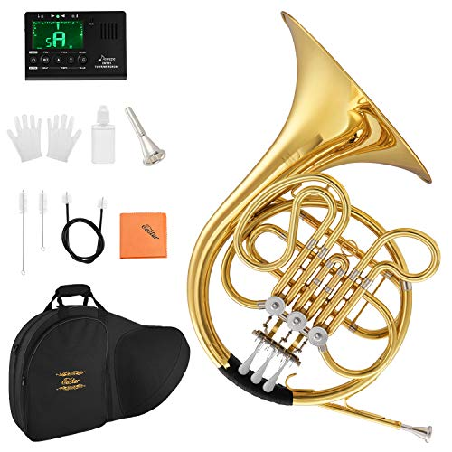 Eastar Single French Horn Key of F Standard 3-Key French Horn for Students Beginners with Hard Case Tuner Mouthpiece Gloves Valve Oil and Cleaning Kit, EFH-380
