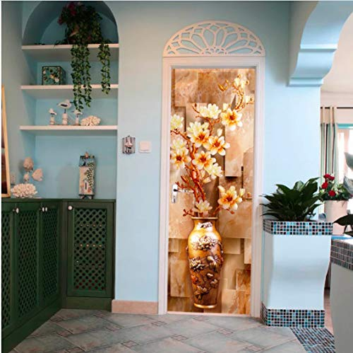 Puertas de madera reacondicionar calcomanías de puerta Vintage florero puerta pegatina autoadhesivo decorativo impermeable pared calcomanía Mural papel tapiz