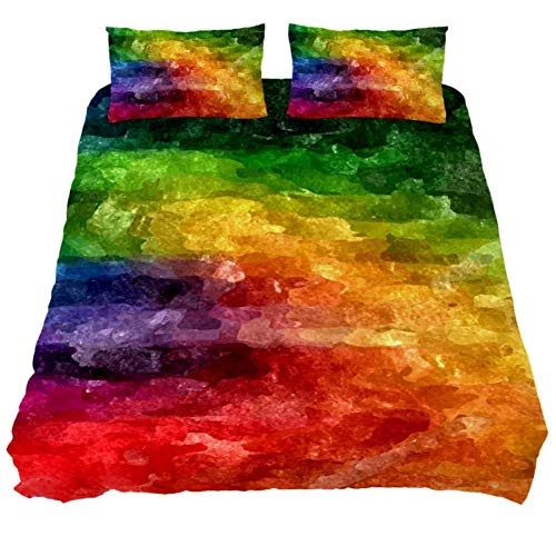 Duvet Cover Set Abstract Rainbow Watercolor Comforter Bedding Sets Soft 3 Piece Extra Long Twin Size with 2 Pillow Shams Hypoallergenic Soft and Comfortable Zipper