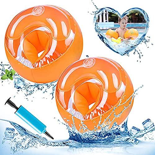 1 Paar Schwimmflügel Kinder Aufblasbare ärmel Schwimmarm Kreis Schwimmring Aufblasbare Schwimmarmbänder Wasserringe Dickes Doppelballon-Poolspielzeug für Kinder Kleinkinder Orange (3-14 Jahre)