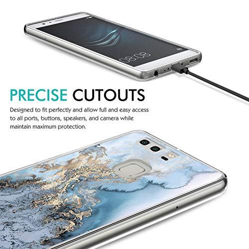 Huawei P9 Hülle, 14chvily Schutzhülle Huawei P9 Plus Handyhülle Soft Marmor Cover Rückschale Blume Flüssigkristall Silicone Schutz Shockproof Handytasche für Huawei P9 Plus - Ultra dünn (4.0, P9) - 5