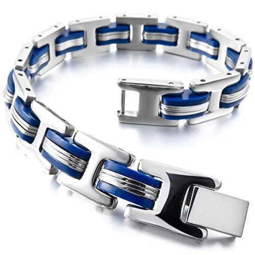 MunkiMix Acero Inoxidable Plástico Caucho Pulsera Brazalete Eslabones Link Enlace Muñeca El Tono De Plata Azul Hombre