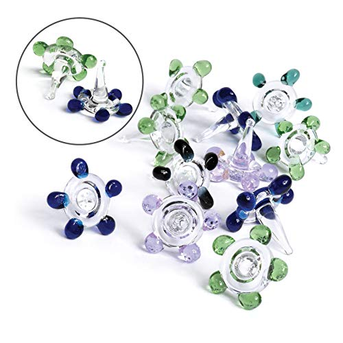 One Inch XL Daisy Glass Flower Beads - Premium Quality Hand Blown Glass Stem Filters (10 Pack)