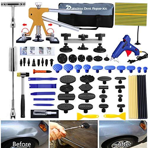 Manelord Dellen Reparatur Ausbeulwerkzeug Lackfreies Set. Einstellbare Breite Golden Lifter, Gleithammer und Metall Brücken Abzieher für Fahrzeug Kühlschrank Waschanlage Dellen Entfernen