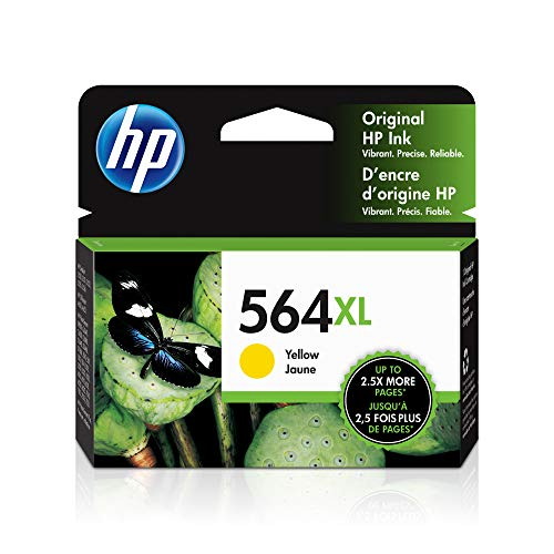 HP 564XL | Ink Cartridge | Yellow | Works with HP DeskJet 3500 Series, HP Officejet 4600 5500 C6300 6500 7500 Series, B8550, D7560, C510, B209, B210, C309, C310, C410, C510 | CB325WN