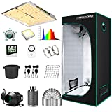 """MARS HYDRO Grow Tent Kit Complete 2.3x2.3ft TS1000W LED Grow Light Dimmable Full Specturm Indoor Grow Tent Complete System, 27'x27'x63' Hydroponics Grow Tent Kit 1680D with 4"""" Ventilation Kit"""