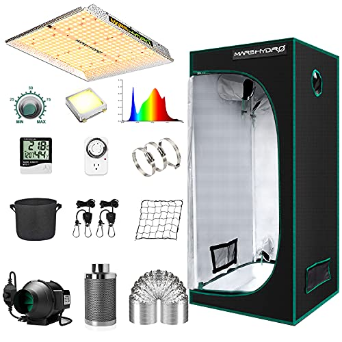 """MARS HYDRO Grow Tent Kit Complete 2.3x2.3ft TS1000W LED Grow Light Dimmable Full Specturm Indoor Grow Tent Complete System, 27""""x27""""x63"""" Hydroponics Grow Tent Kit 1680D with 4"""" Ventilation Kit"""