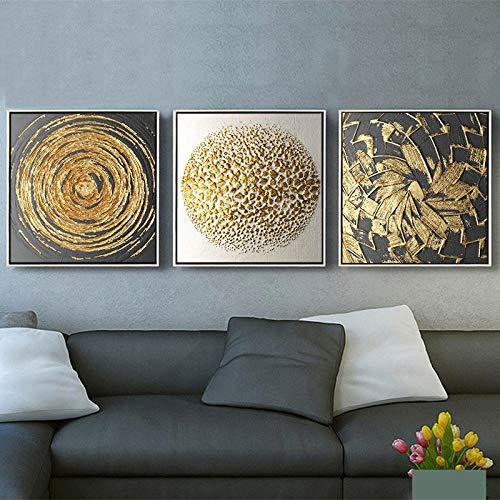 Cuadrado Abstracto Elemento Dorado Moderno Arte Impreso Póster Pared 3 Piezas Lienzo...