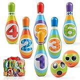 Ulikey Jeux de Quilles Mini Bowling Set - 6 Quilles + 2 Balles en Mousse Bowling Multicolores Jeu en Plein Air Jeux Exterieur pour Enfants Garcon Fille 3 4 5 Ans