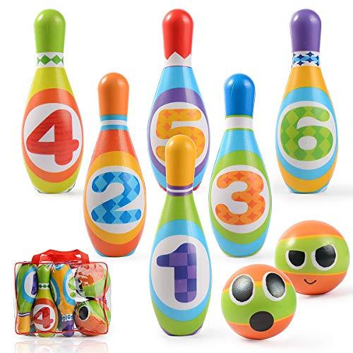 Ulikey Juego de Bolos para Niños con 6 Alfileres y 2 Bolas, Bowling Set, Bolera de Juguete Educativos, Bolos Infantiles Juegos Exterior Juguete Interactivos 3 4 5 Años (6 Alfileres y 2 Bolas)