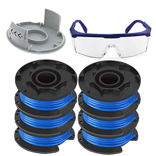 "TOPEMAI AC14RL3A String Trimmer Replacement Spool Line for Ryobi One+ 18V, 24V, and 40V Cordless Trimmers, 0.065"" Autofeed Replacement Spool, (6 Spools + 522994001 Cap + Goggles)"