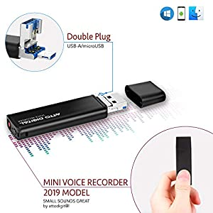 Mini Voice Activated Recorder – Slim USB Flash Drive | 26 Hours Battery | 8GB – 94 Hours Capacity | 512 Kbps Audio Quality | Easy to Use USB Memory Stick Sound Recorder | lightREC by aTTo Digital