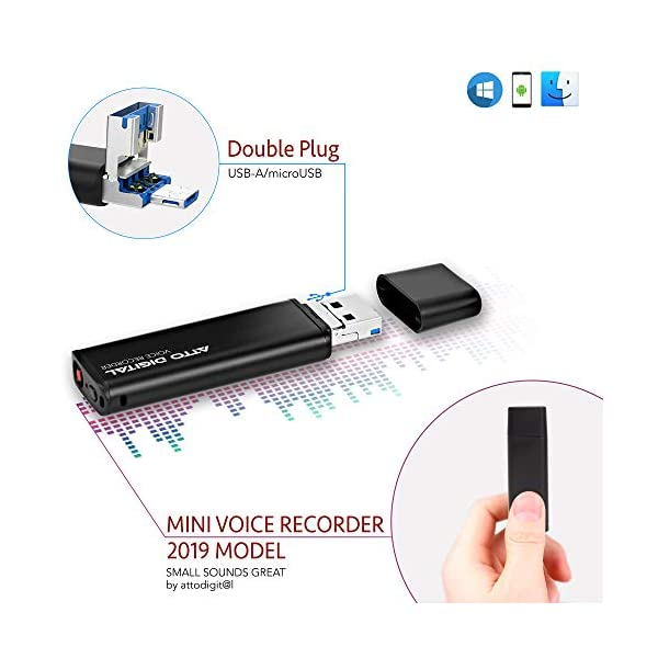 Mini Voice Activated Recorder – Slim USB Flash Drive   26 Hours Battery   8GB - 94 Hours Capacity   512 Kbps Audio Quality   Easy to Use USB Memory Stick Sound Recorder   lightREC by aTTo Digital 3