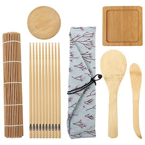 BESTonZON Juego de 10 herramientas para la preparación del sushi Sushi Roller Mat Sushi Kit de regalo para la preparación de sushi Kit para los principiantes estacas de bambú sushi de rotación