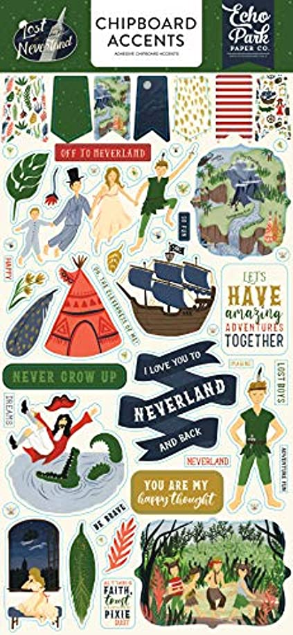 Echo Park Paper Company LIN179021 Lost in Neverland 6x13 Accents chipboard Navy, Green, red, Gold