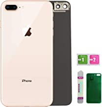 Replacement Back Glass Cover Back Battery Door Installed Camera Frame Lens Replacement for iPhone 8 Plus (Gold)