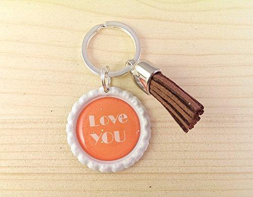 Schlüsselanhänger Kronkorken – Love you Glitzer & Samt Quaste – Handmade