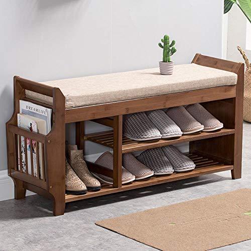 Banco de almacenamiento de zapatos de bambú natural con asiento de 2 niveles, organizador de zapatos para sala de estar, almacenamiento de entrada, pasillo re-L