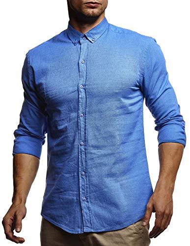 Leif Nelson Herren Leinenhemd Hemd Leinen Kurzarm T-Shirt Oversize Stehkragen Männer Freizeithemd Sommerhemd Regular Fit Basic Shirt Kurzarmshirt Freizeit Sweater LN3875 Blau XX-Large