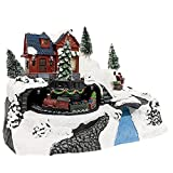 Mediawave Store - Móvil de pueblo navideño con paisaje nevado, Móvil de Navidad con casa de tren y árboles, escenario navideño con luces sonoras y movimiento, decoraciones.