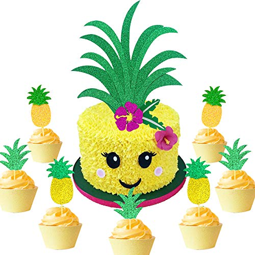 LaVenty 26 PCS Glitter Pineapple Cake Topper Pineapple Cake Decoration Hawaiian Party Pineapple Cupcake Toppers Picks Donut Toppers for Luau Bridal Shower Tropical Summer Party Cake Decoration